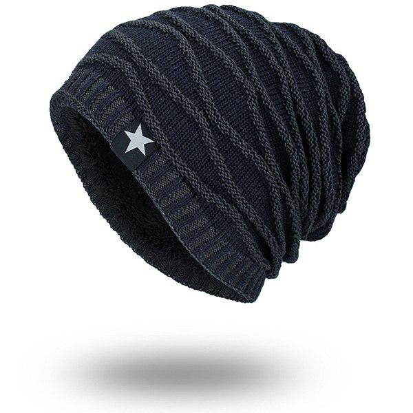 Wave Striped Velvet Lining Knitted Warm BeanieACCESSORIES<br><br>Color: CADETBLUE; Hat Type: Skullies Beanie; Group: Adult; Gender: For Men; Style: Fashion; Pattern Type: Striped; Material: Acrylic; Weight: 0.1000kg; Package Contents: 1 x Hat;