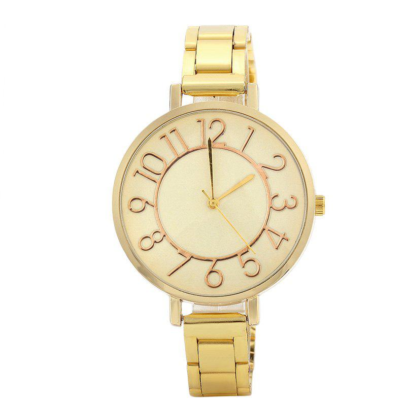 Alloy Strap Number Analog Quartz WatchJEWELRY<br><br>Color: GOLDEN; Gender: For Women; Style: Fashion; Type: Quartz watch; Index Dial: Analog; Case material: Alloy; Band material: Alloys; Movement: Quartz; Dial Shape: Round; Water-Proof: No; Case Thickness(MM): 8mm; Dial Diameter: 3.8cm; Band Length(CM): 24cm; Band Width(CM): 1.0cm; Package Contents: 1 x Watch;