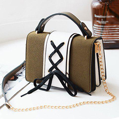 Fashion Lace Up Suede Panel Crossbody Bag