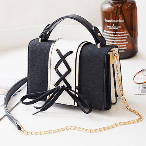 Lace Up Suede Panel Crossbody BagSHOES &amp; BAGS<br><br>Color: BLACK; Handbag Type: Crossbody bag; Style: Fashion; Gender: For Women; Embellishment: Criss-Cross; Pattern Type: Others; Handbag Size: Small(20-30cm); Closure Type: Cover; Interior: Interior Zipper Pocket; Occasion: Versatile; Main Material: PU; Size(CM)(L*W*H): 22*7*15; Strap Length: 120CM (Adjustable); Weight: 0.6100kg; Package Contents: 1 x Crossbody Bag;