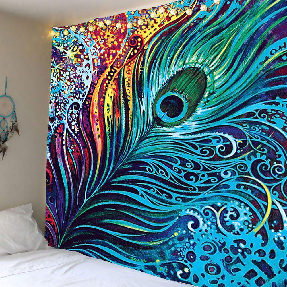 Peacock Feather Printed Wall Hanging TapestryHOME<br><br>Size: W91 INCH * L71 INCH; Color: COLORFUL; Style: Bohemian; Material: Polyester; Feature: Removable,Washable; Shape/Pattern: Feather; Weight: 0.5000kg; Package Contents: 1 x Tapestry;
