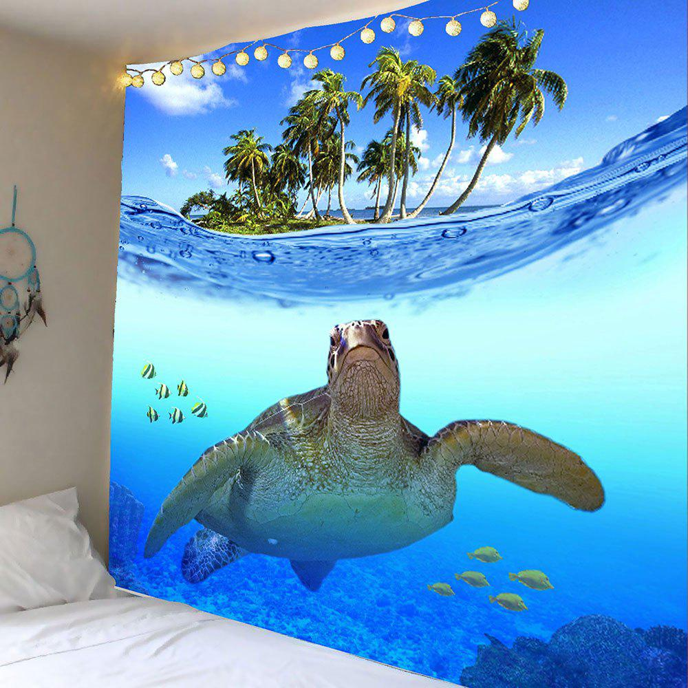 Sea Turtle Fish Palm Print Wall Hanging TapestryHOME<br><br>Size: W91 INCH * L71 INCH; Color: BLUE; Style: Beach Style; Theme: Animals; Material: Polyester; Feature: Removable,Washable; Shape/Pattern: Animal; Weight: 0.4200kg; Package Contents: 1 x Tapestry;