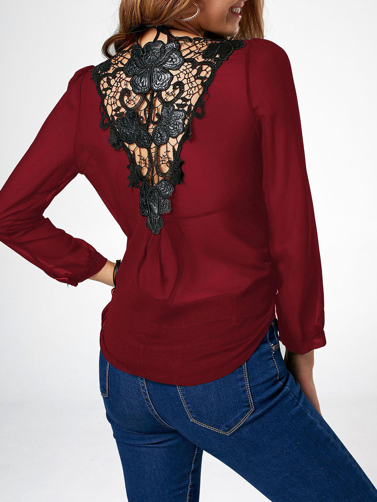 Shop Lace Trim Asymmetric Chiffon Long Sleeve Blouse