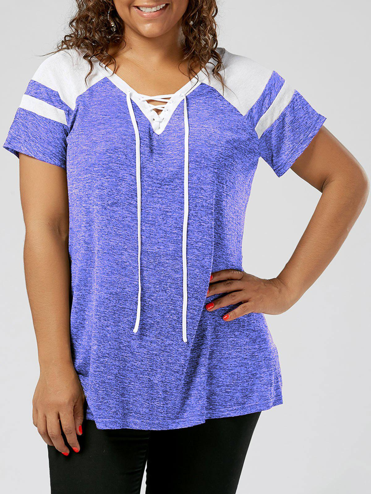 Plus Size Lace Up Raglan Sleeve TopWOMEN<br><br>Size: XL; Color: BLUE AND WHITE; Material: Polyester,Spandex; Shirt Length: Long; Sleeve Length: Short; Collar: V-Neck; Style: Active; Season: Summer; Pattern Type: Others; Weight: 0.1900kg; Package Contents: 1 x Top;