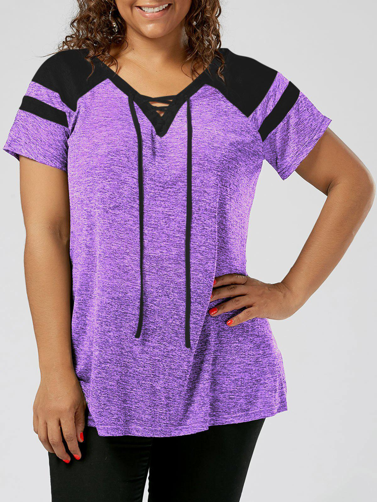 Latest Plus Size Lace Up Raglan Sleeve Top