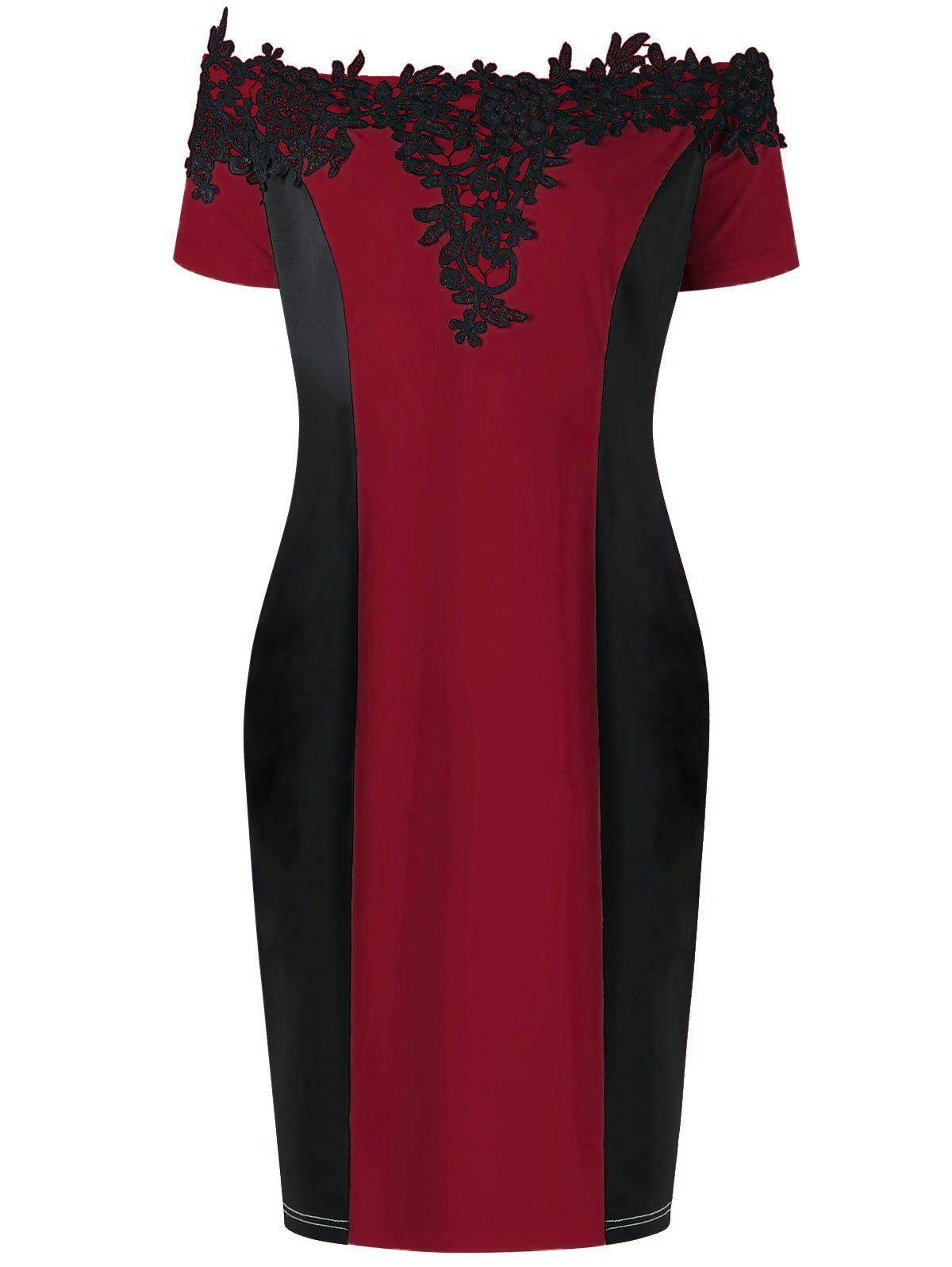 Appliqued Off The Shoulder Plus Size Pencil DressWOMEN<br><br>Size: 3XL; Color: DEEP RED; Style: Brief; Material: Polyester,Spandex; Silhouette: Sheath; Dresses Length: Mini; Neckline: Off The Shoulder; Sleeve Length: Short Sleeves; Embellishment: Appliques; Pattern Type: Floral; With Belt: No; Season: Summer; Weight: 0.3200kg; Package Contents: 1 x Dress;