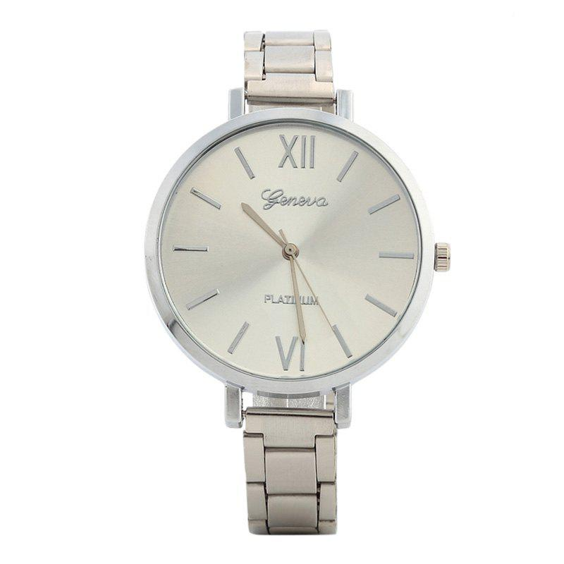 Alloy Strap Roman Numerals Quartz WatchJEWELRY<br><br>Color: SILVER; Gender: For Women; Style: Fashion; Type: Quartz watch; Index Dial: Analog; Case material: Alloy; Band material: Alloys; Movement: Quartz; Dial Shape: Round; Water-Proof: No; Case Thickness(MM): 8mm; Dial Diameter: 3.8cm; Band Length(CM): 24cm; Band Width(CM): 1.0cm; Package Contents: 1 x Watch;