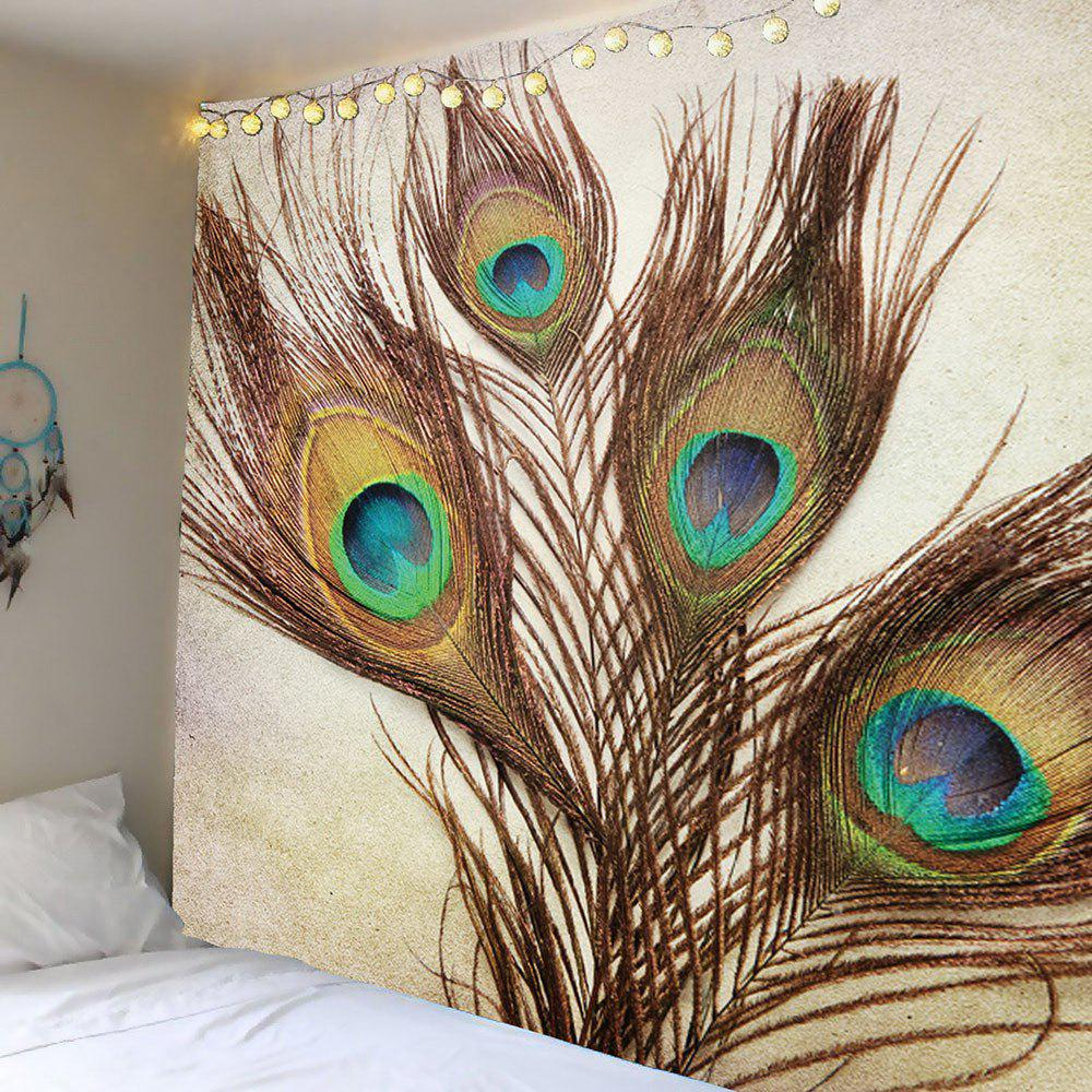 Brown w59 inch l59 inch home decor peacock feather wall art tapestry - Peacock feather decorations home decor ...