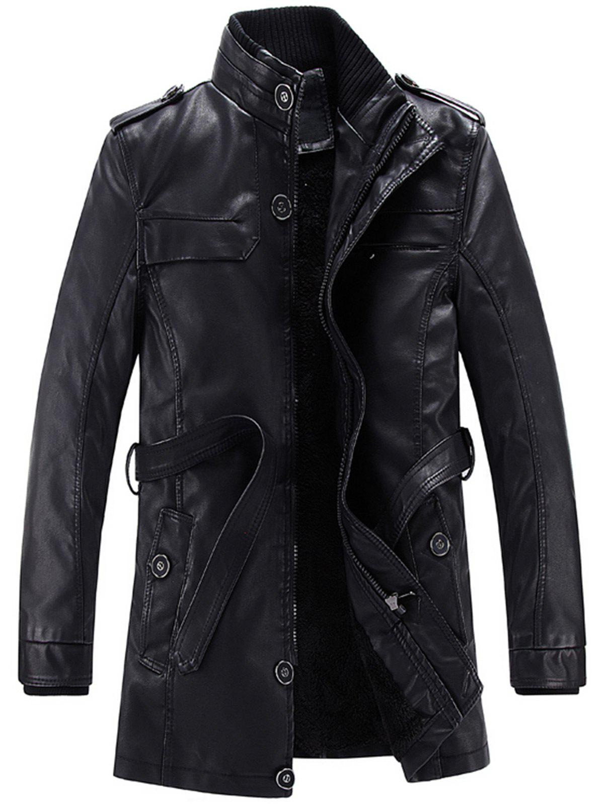 Stand Collar Epaulet Belt Fleece Faux Leather CoatMEN<br><br>Size: 3XL; Color: BLACK; Clothes Type: Leather &amp; Suede; Style: Casual,Fashion; Material: Cotton,Faux Leather; Collar: Stand Collar; Shirt Length: Long; Sleeve Length: Long Sleeves; Season: Winter; Weight: 1.3500kg; Package Contents: 1 x Coat;