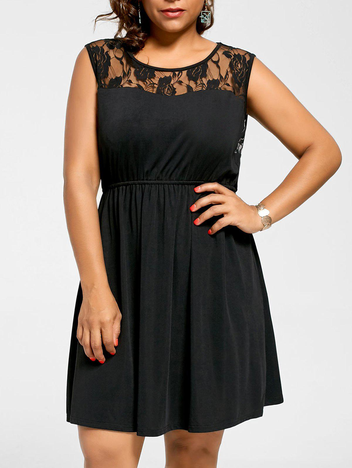 Sleeveless Plus Size Lace Yoke Skater DressWOMEN<br><br>Size: 4XL; Color: BLACK; Style: Brief; Material: Polyester; Silhouette: A-Line; Dresses Length: Knee-Length; Neckline: Round Collar; Sleeve Length: Sleeveless; Embellishment: Lace; Pattern Type: Floral; With Belt: No; Season: Summer; Weight: 0.3500kg; Package Contents: 1 x Dress;