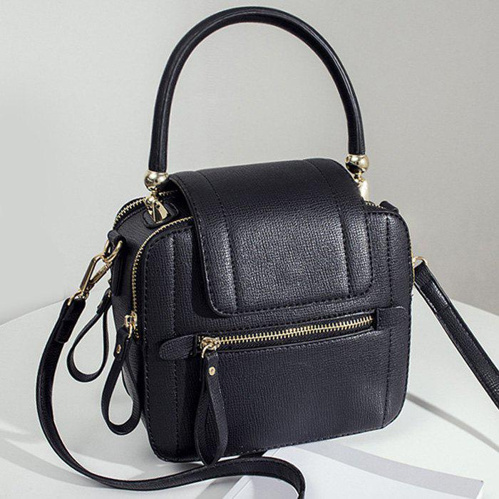 Top Handle Zippers HandbagSHOES &amp; BAGS<br><br>Color: BLACK; Handbag Type: Totes; Style: Fashion; Gender: For Women; Pattern Type: Solid; Handbag Size: Small(20-30cm); Closure Type: Zipper; Interior: Interior Zipper Pocket; Occasion: Versatile; Main Material: PU; Weight: 0.6000kg; Size(CM)(L*W*H): 20*10*20; Package Contents: 1 x Handbag;