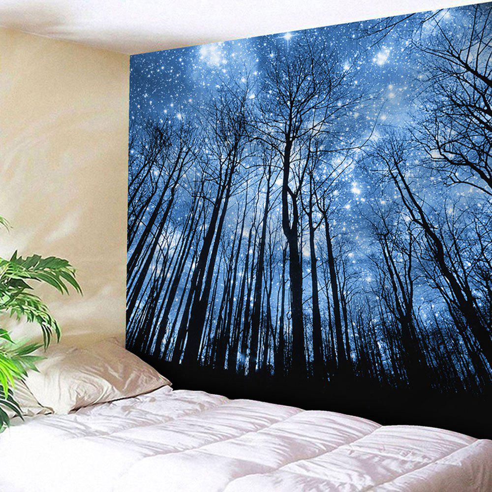 Wall Hanging Forest Printed TapestryHOME<br><br>Size: W59 INCH * L51 INCH; Color: BLUE; Style: Fresh Style; Theme: Plants/Flowers; Material: Nylon,Polyester; Feature: Removable,Washable; Shape/Pattern: Plant,Print; Weight: 0.1800kg; Package Contents: 1 x Tapestry;