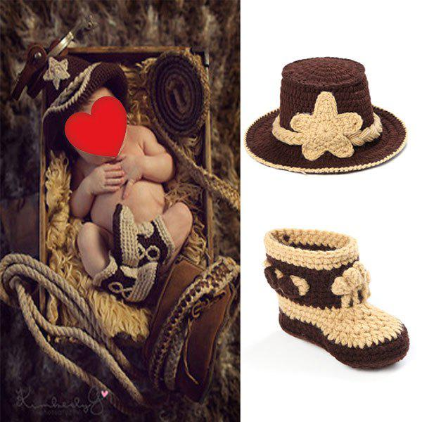 Knitted Cowboy Photography Clothes Set For BabyHOME<br><br>Color: BROWN; Type: Knitted; Material: Acrylic; Pattern Type: Floral; Weight: 0.1000kg; Package Contents: 1 x Baby Clothes Suits;