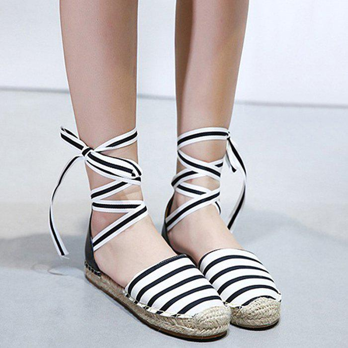 Store Striped Pattern Espadrilles Flat Shoes
