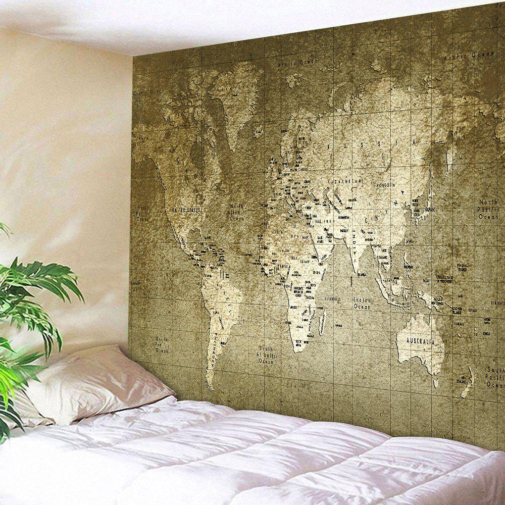 Retro World Map Wall Hanging TapestryHOME<br><br>Size: W71 INCH * L79 INCH; Color: BRONZE; Style: Vintage; Material: Polyester; Feature: Removable,Washable; Shape/Pattern: Map,Print; Weight: 0.3100kg; Package Contents: 1 x Tapestry;