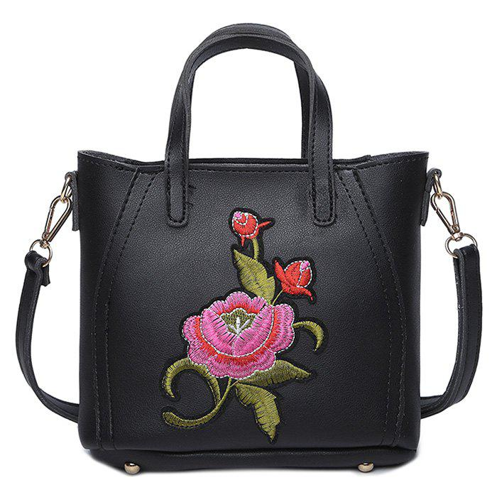 Flower Embroidery PU Leather Tote BagSHOES &amp; BAGS<br><br>Color: BLACK; Handbag Type: Totes; Style: Fashion; Gender: For Women; Embellishment: Embroidery; Pattern Type: Floral; Handbag Size: Mini(&lt;20cm); Closure Type: Zipper; Occasion: Versatile; Main Material: PU; Weight: 0.6000kg; Size(CM)(L*W*H): 19*6*18; Strap Length: 135CM (Adjustable); Package Contents: 1 x Tote Bag;
