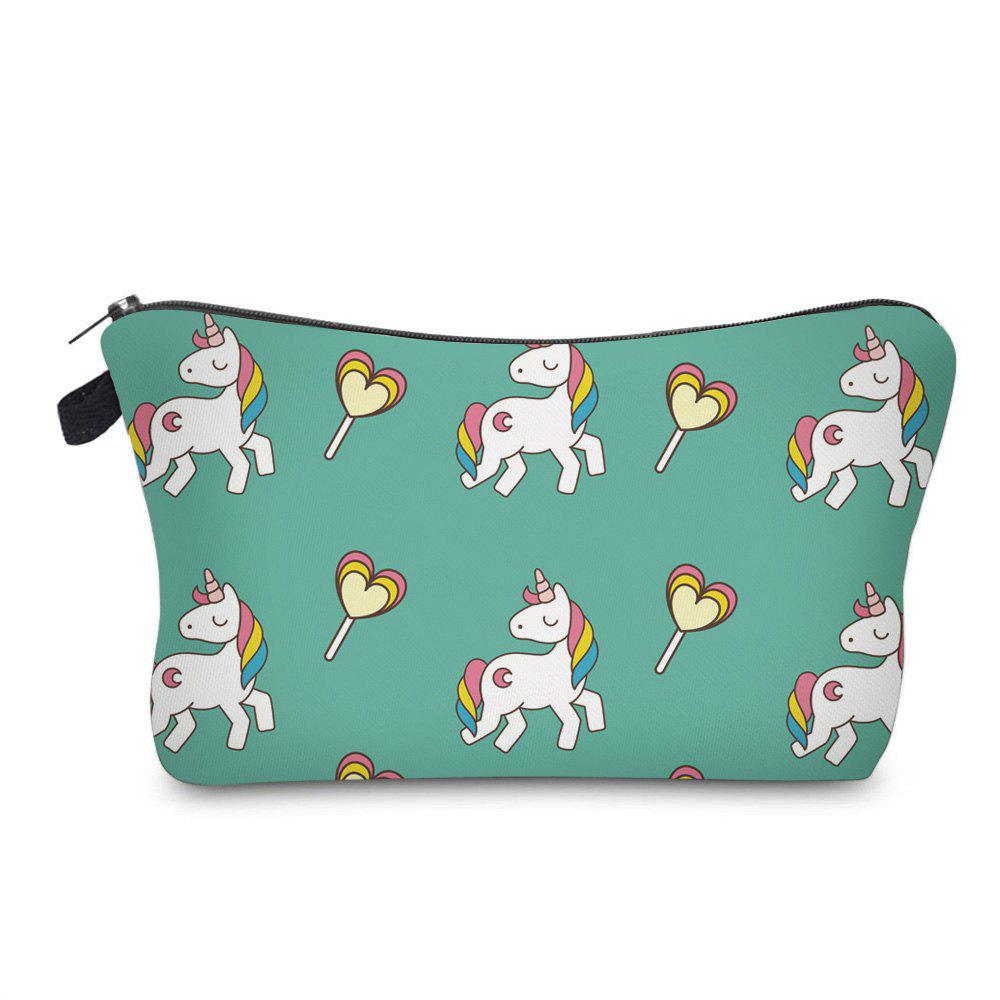 Unicorn Print Makeup BagSHOES &amp; BAGS<br><br>Color: GREEN; Style: Casual; Closure Type: Zipper; Pattern Type: Character; Main Material: Polyester; Length: 17.5CM; Width: 4.5CM; Height: 12CM; Weight: 0.2000kg; Package Contents: 1 x Makeup Bag;