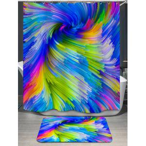 Psychedelic Vortex Print Shower Curtain and Rug