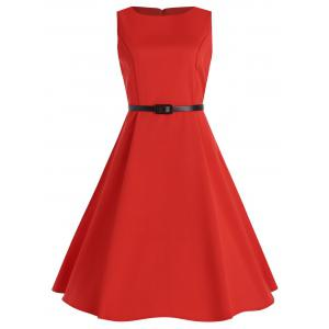 Plus Size Midi Vintage Pin Up Dress with Belt - Red - 3xl