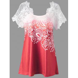 Lace Panel Raglan Sleeve Floral Plus Size Top - Watermelon Red - 5xl