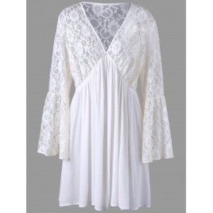 Plus Size Lace Long Sleeve Skater Dress - Off-white - 4xl