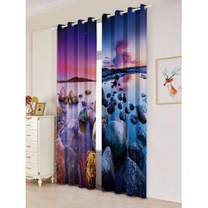 Seaside Sunset 2Pcs Window Treatment Blackout Curtain - COLORMIX W53 INCH * L84.5 INCH