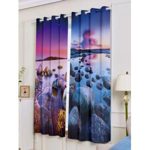 Seaside Sunset 2Pcs Window Treatment Blackout Curtain - COLORMIX W53 INCH * L63 INCH