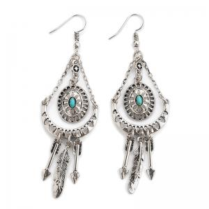 Faux Turquoise Feather Arrow Hook Earrings