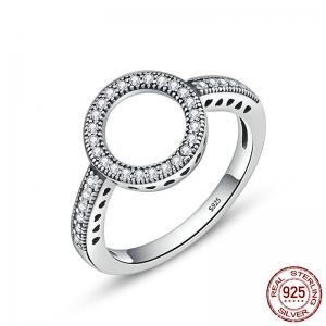 Hollow Out Heart and Round Rhinestone Ring - Silver - 7