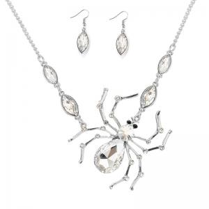 Rhinestone Spider Shape Necklace and Earrings - Silver White