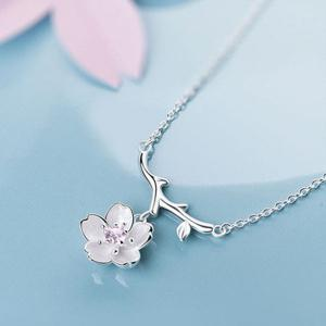 Sakura and Tree Branch Pendant Necklace - Pink