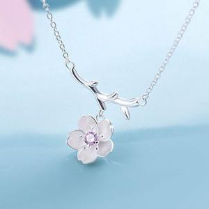 Sakura and Tree Branch Pendant Necklace