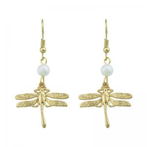 Dragonfly Faux Pearl Pendant Fish Hook Earrings - Golden
