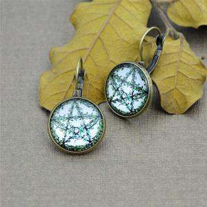 Five Pointed Star Leaf Round Clip On Earrings - Bronze - One-size