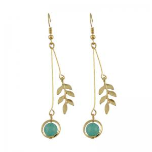 Round Bead Leaf Pendant Fish Hook Earrings - Golden