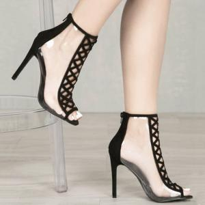 Crisscross Cutout High Heel Peep Toe Sandals
