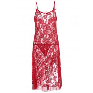 Lace Ruffles Sheer Slip Babydoll - Red - S