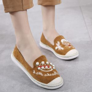 Embroidery Faux Pearl Slip On Shoes - Deep Brown - 38