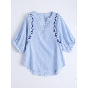Embroidery Striped Casual Blouse - Blue - L
