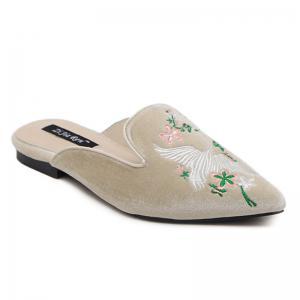 Velvet Embroidery Pointed Toe Slippers - Apricot - 38