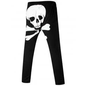 Back Skull Printed Drawstring Harem Pants - White - Xl