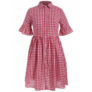 Plus Size Plaid Flare Sleeve Smocked Shirt Dress