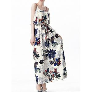 Ruffle Printed Maxi Dress - Off-white - 2xl
