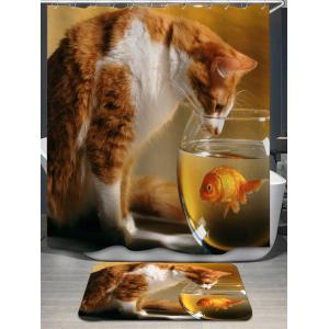 Cat and Goldfish Print Shower Curtain and Bath Mat