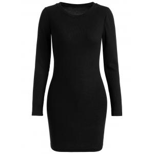 Ribbed Knitted Bodycon Dress - Black - S