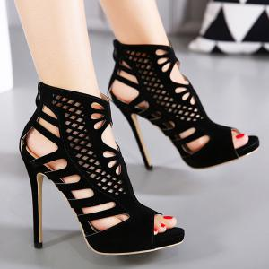 Cutout High Heel Peep Toe Sandals