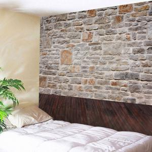 Brick Wall Wood Floor Print Tapestry Wall Hanging Art Decor - Grey White - W79 Inch * L59 Inch