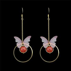 Hoop and Butterfly Pendant Fish Hook Earrings