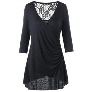 High Low Lace Panel Surplice Tee