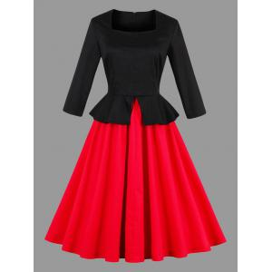 Color Block Vintage Peplum Pin Up Dress - Black And Red - 2xl